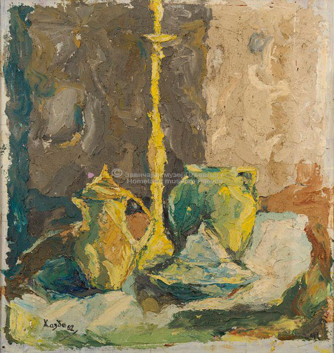 Hazbo Nuhanović, Mrtva priroda, ulje na platnu,
