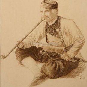 Ilija Šobajić, Durmitorac, sepija na papiru