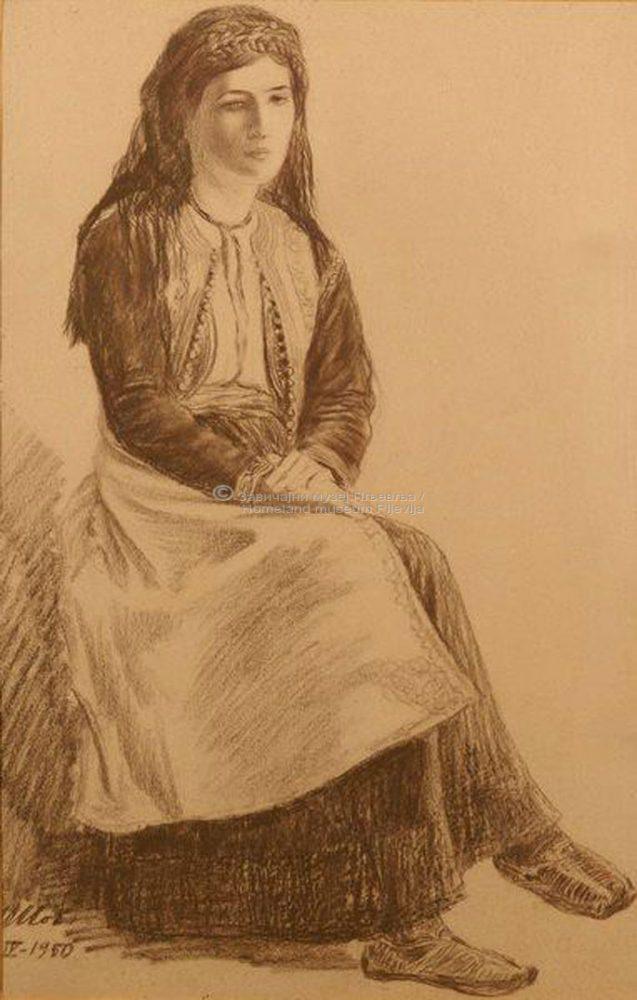Ilija Šobajić, Durmitorka, sepija na papiru