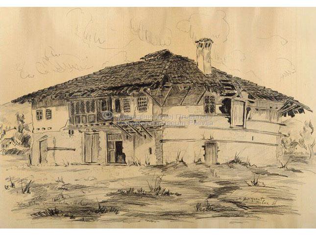 Milenko Vukojičić, Kuća Selmanovića, olovka na papiru