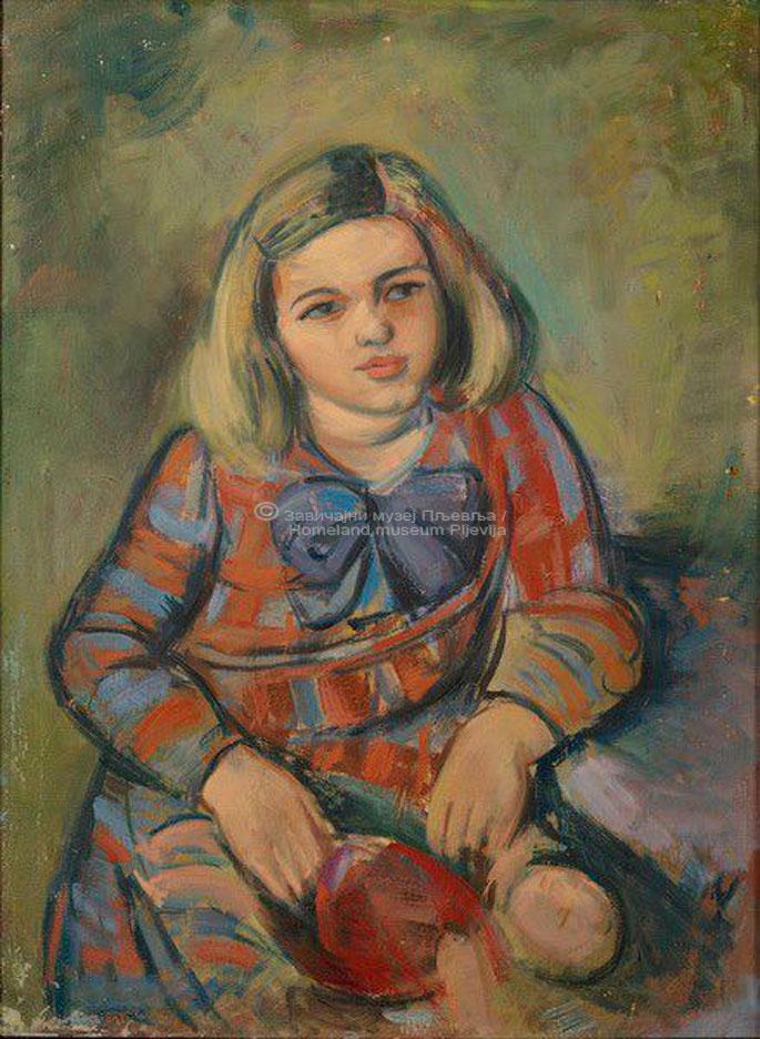 Miloš Vusković, Djevojčica sa lutkom, ulje na platnu