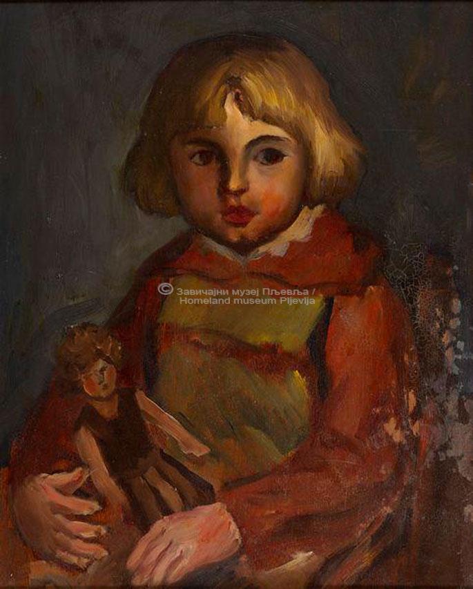 Mišo Vukotić, Dječak sa lutkom, ulje na šperploči