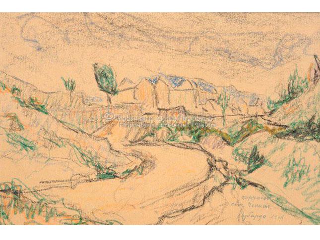 Petar Lubarda, Porušeno selo Čekanje, voštani pastel na papiru