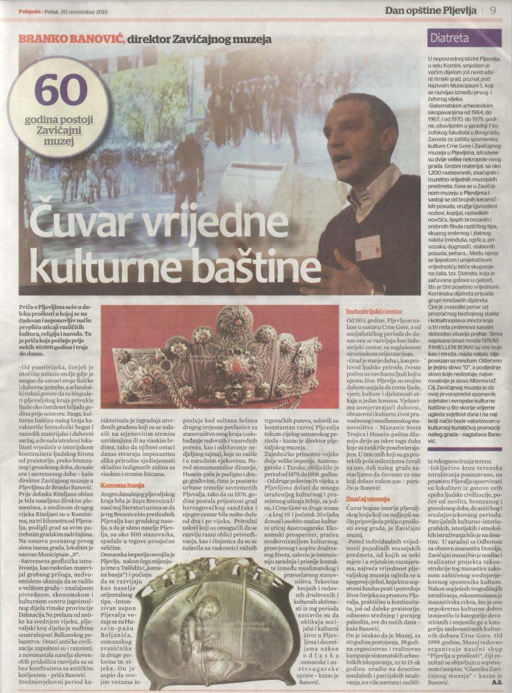 Pobjeda petak 20 novembar 2015. direktor Branko Banovic - Cuvar vrijedne kulturne