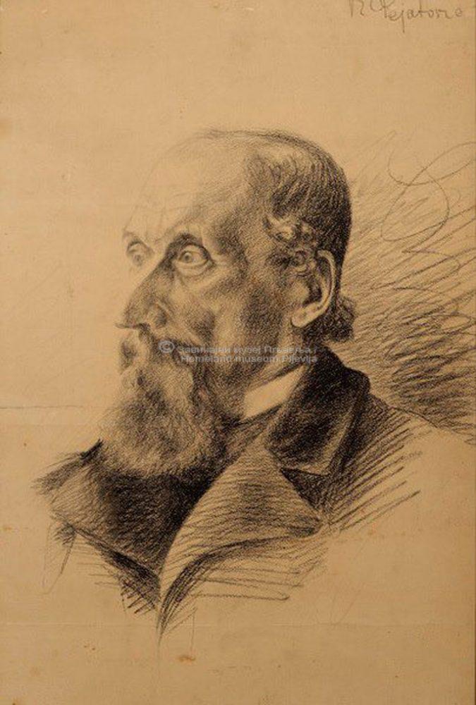 Risto Pejatović, Portret starca, olovka na papiru