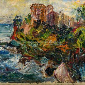 Spomenka Pavlović, Grad nad morem, ulje na platnu zalijepljeno na lesonit