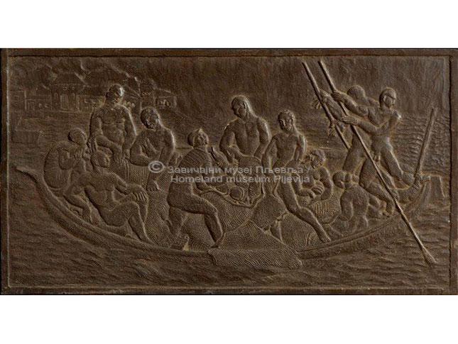 Sreten Stojanović, Ribari, plitki reljef (bareljef) odliven u bronzi